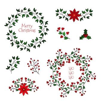 Colección de guirnaldas y flores navideñas dibujadas a mano