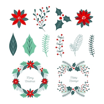 Colección de guirnaldas y flores navideñas en diseño plano