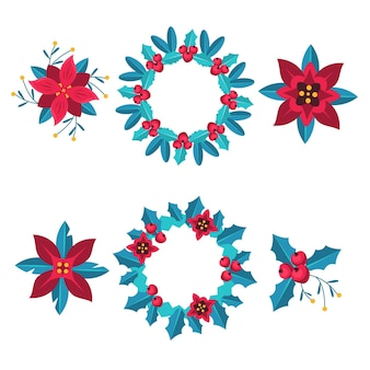 Colección de guirnaldas y flores navideñas de diseño plano