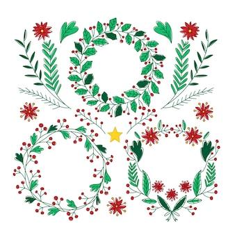 Colección de guirnaldas de navidad dibujadas a mano