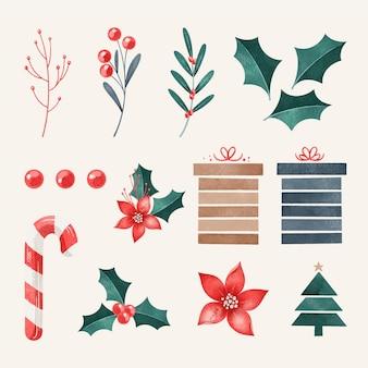Colección de guirnaldas navideñas en acuarela