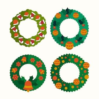 Colección de guirnaldas navideñas de diseño plano