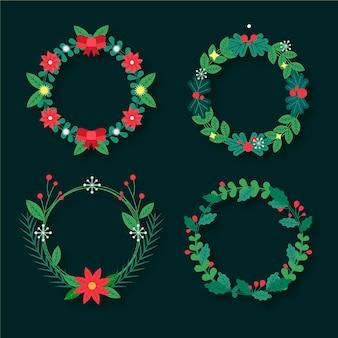 Colección de guirnaldas navideñas en diseño plano