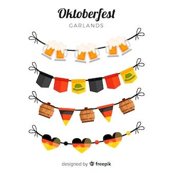 Colección de guirnaldas de oktoberfest en diseño plano