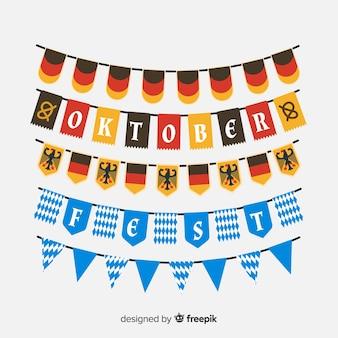 Colección de guirnaldas del oktoberfest en diseño plano