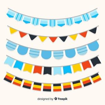 Colección de guirnaldas oktoberfest de diseño plano