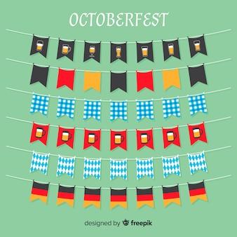 Colección de guirnaldas de oktoberfest de diseño plano