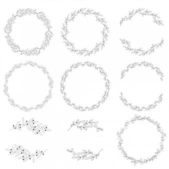 Colección de guirnaldas de primavera doodle