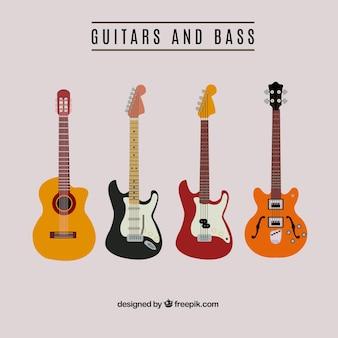Colección de guitarras y bajos