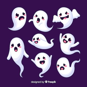Colección de halloween de caras divertidas fantasma
