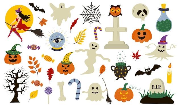 Colección de halloween con elementos dibujados a mano. perfecto para vacaciones, decoración, pegatinas.
