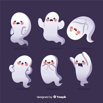 Colección de halloween de fantasmas de dibujos animados ruborizados