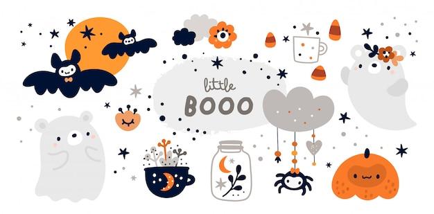 Colección happy halloween con elementos de diseño