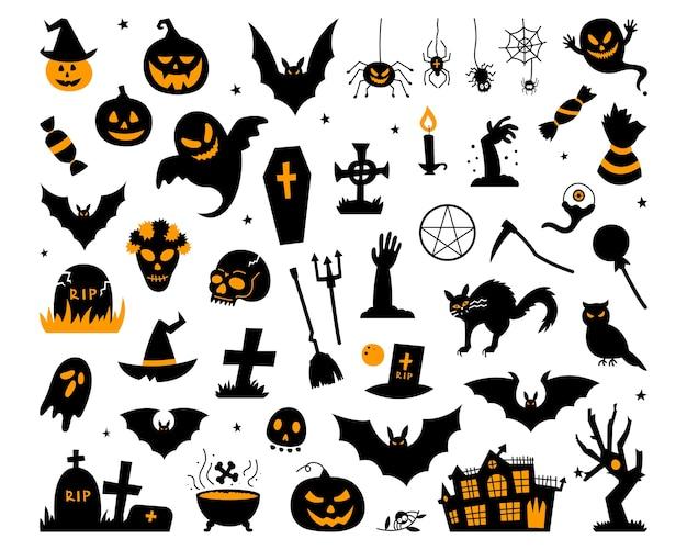 Colección happy halloween magic, atributos de asistente, elementos espeluznantes y espeluznantes para decoraciones de halloween, siluetas de doodle, boceto, icono, etiqueta. ilustración dibujada a mano.