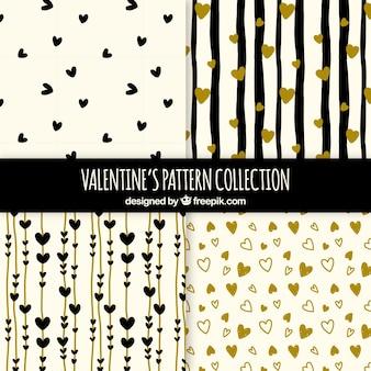 Colección hecha a mano de patrones de san valentín