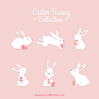 Colección hecha a mano de conejos de pascua
