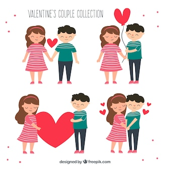 Colección hecha a mano de parejas de san valentín
