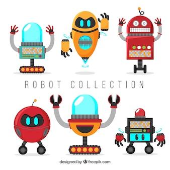 Colección hecha a mano de robots coloridos