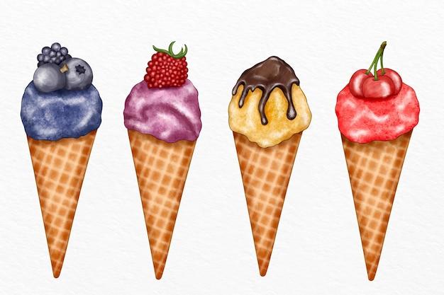 Colección de helados de acuarela pintados a mano