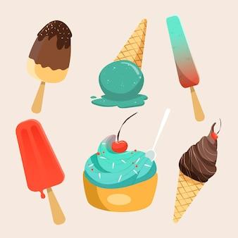 Colección helados dibujados a mano