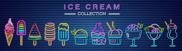 Colección de helados neón