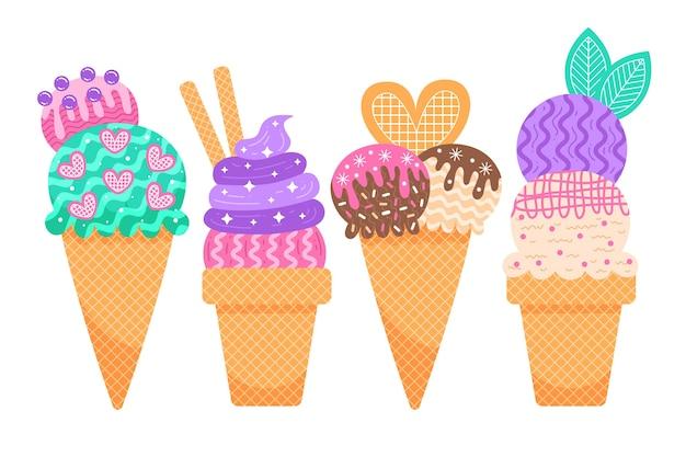 Colección de helados planos