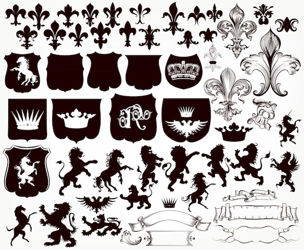 Colección heráldica de escudos, siluetas de leones, grifos y flor de lis.