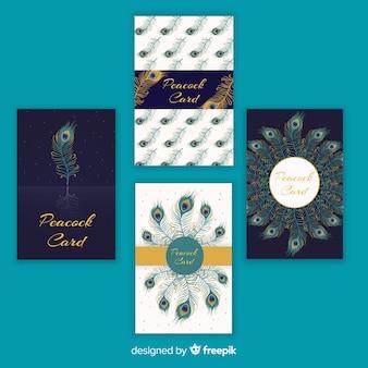 Colección hermosa de tarjetas de pavo real