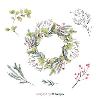 Colección de hermosas flores de acuarela de navidad