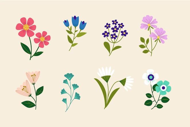 Colección de hermosas flores dibujadas a mano