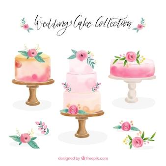 Colección de hermosas tartas de cumpleaños