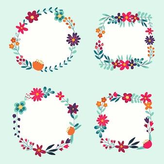 Colección de hermosos marcos florales.