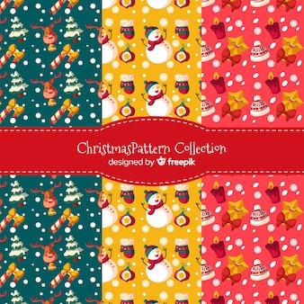 Colección de hermosos patrones de navidad flat