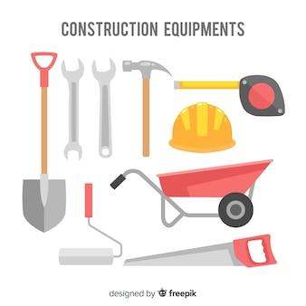 Colección herramientas de construcción planas