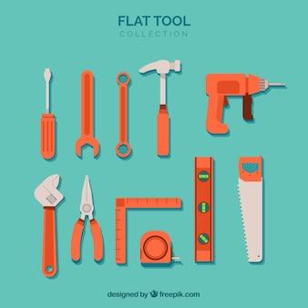 Colección de herramientas en estilo plano
