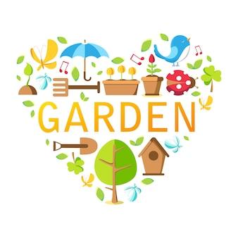Colección de herramientas de jardín con árbol, maceta, suelo, regadera, casa de pájaros y muchos otros objetos en el blanco