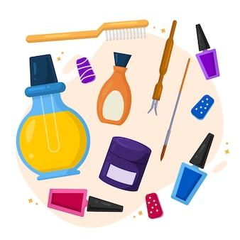 Colección de herramientas de manicura de diseño plano