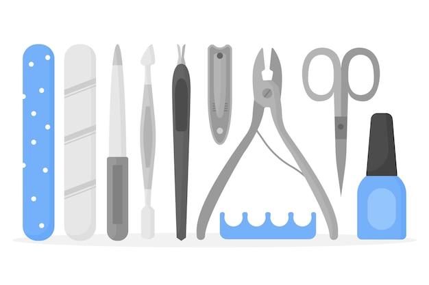 Colección de herramientas de manicura plateadas.