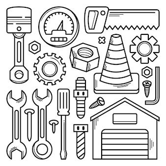 Colección de herramientas de mecánica doodle