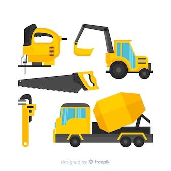 Colección herramientas planas de construcción