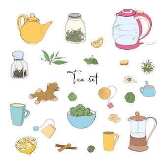 Colección de herramientas para preparar té y beber aislado en blanco