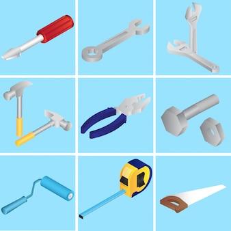 Colección de herramientas de reparación u objetos en azul