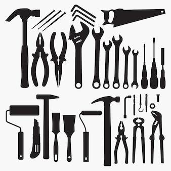 Colección de herramientas de siluetas