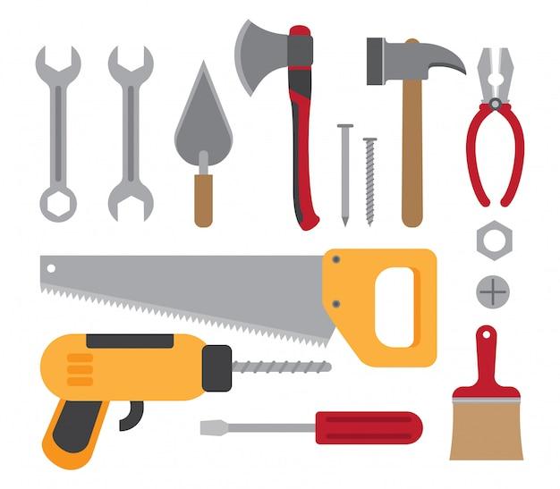 Colección de herramientas de trabajo de construcción.