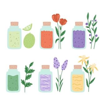 Colección de hierbas de aceites esenciales dibujados a mano