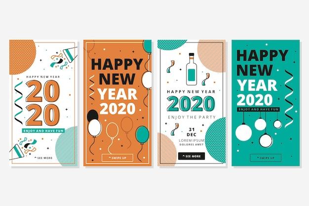 Colección de historia de instagram de celebración de año nuevo