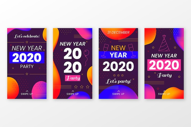 Colección de historia de instagram de fiesta de año nuevo 2020