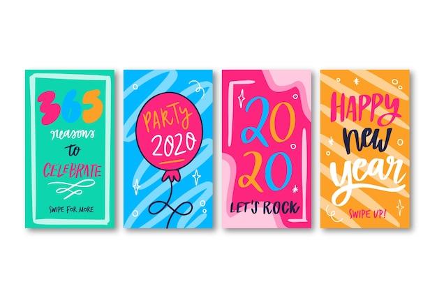 Colección de historia de instagram de fiesta de año nuevo
