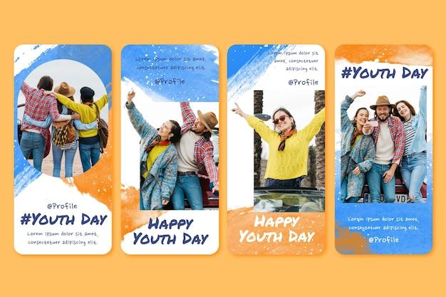 Colección de historias del día internacional de la juventud en acuarela pintada a mano con foto