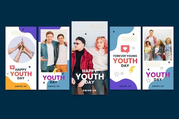 Colección de historias del día internacional de la juventud en degradado con foto